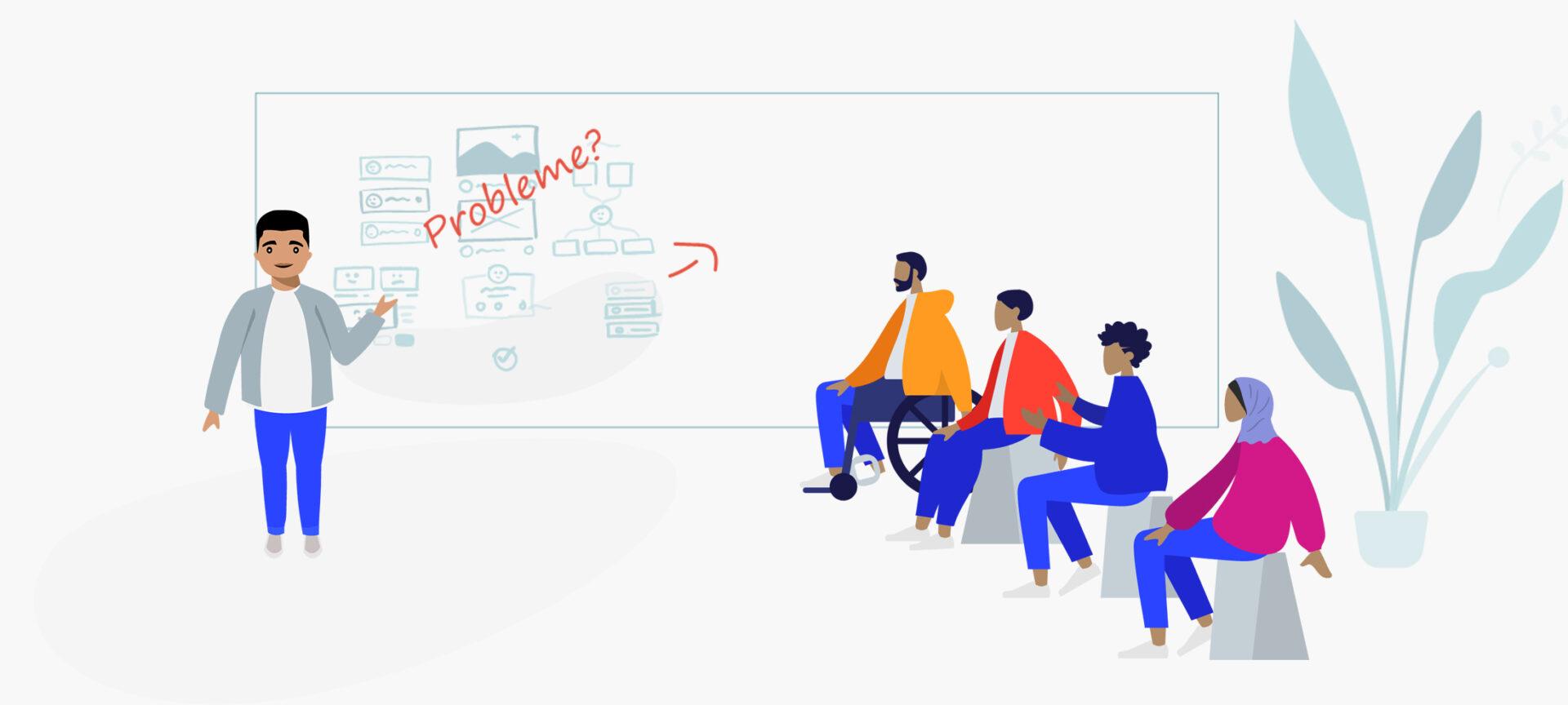 Illustration: Ein Mann erklärt einer Gruppe von vier Schüler*innen etwas. Auf der Tafel steht das Wort Probleme.