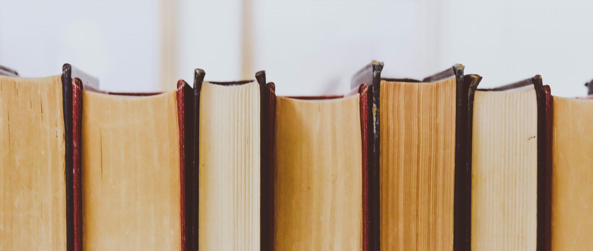 Mehrere geschlossene Bücher liegen dicht nebeneinander.